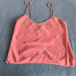 GAP silk tank top sleeveless peach striped P/S